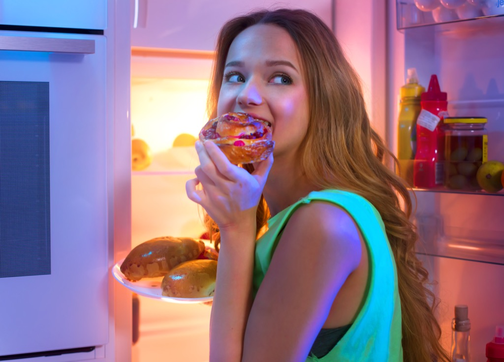 eating out of the fridge
