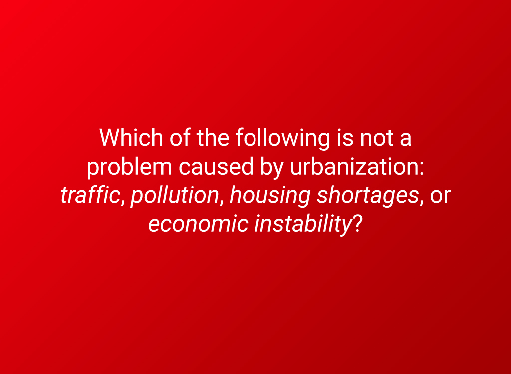 urbanization problems question