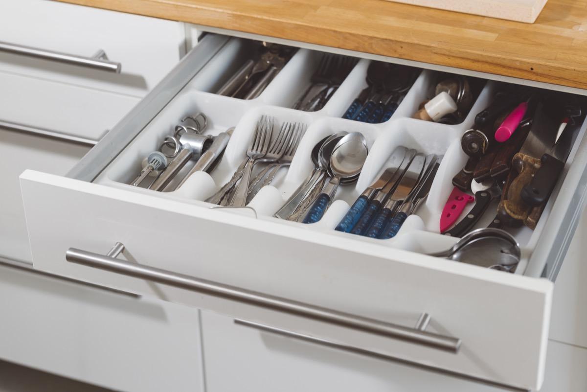 Kitchen drawer, spoon, knife, fork