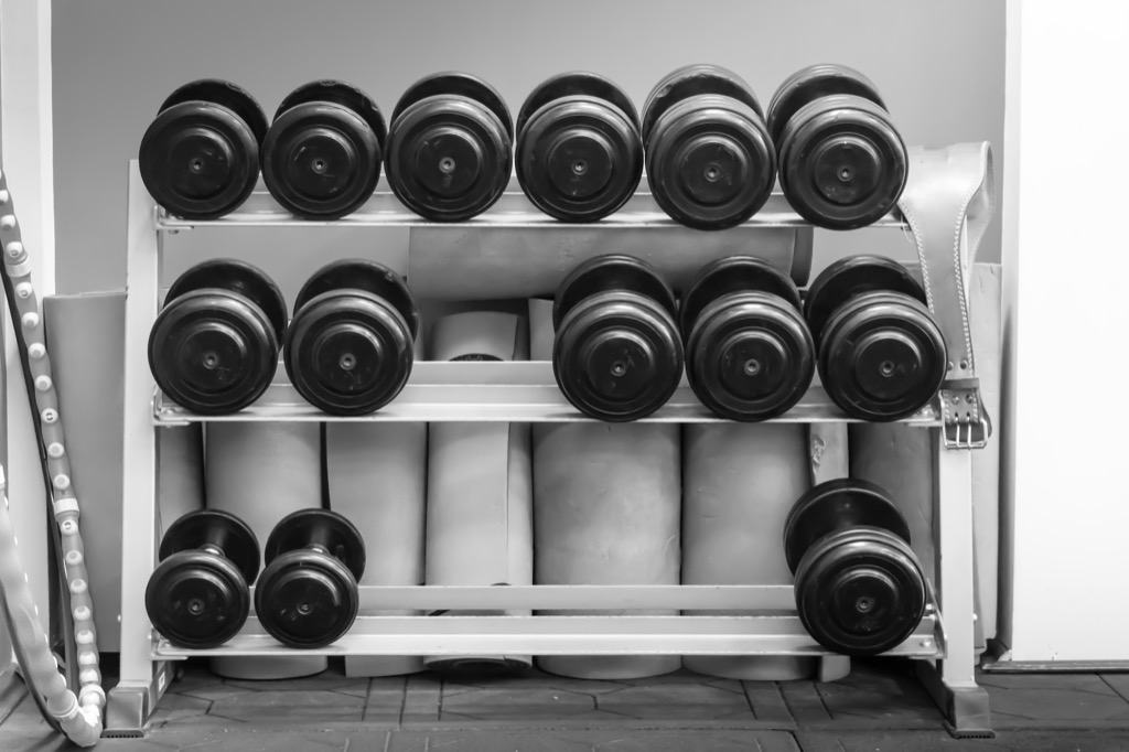 dumbbells on a weight rack