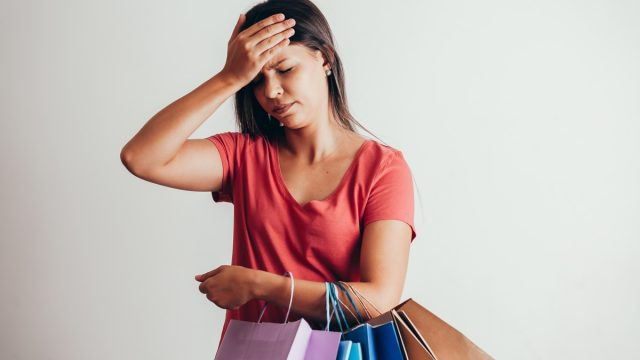 Woman feels dizzy while doing some shopping