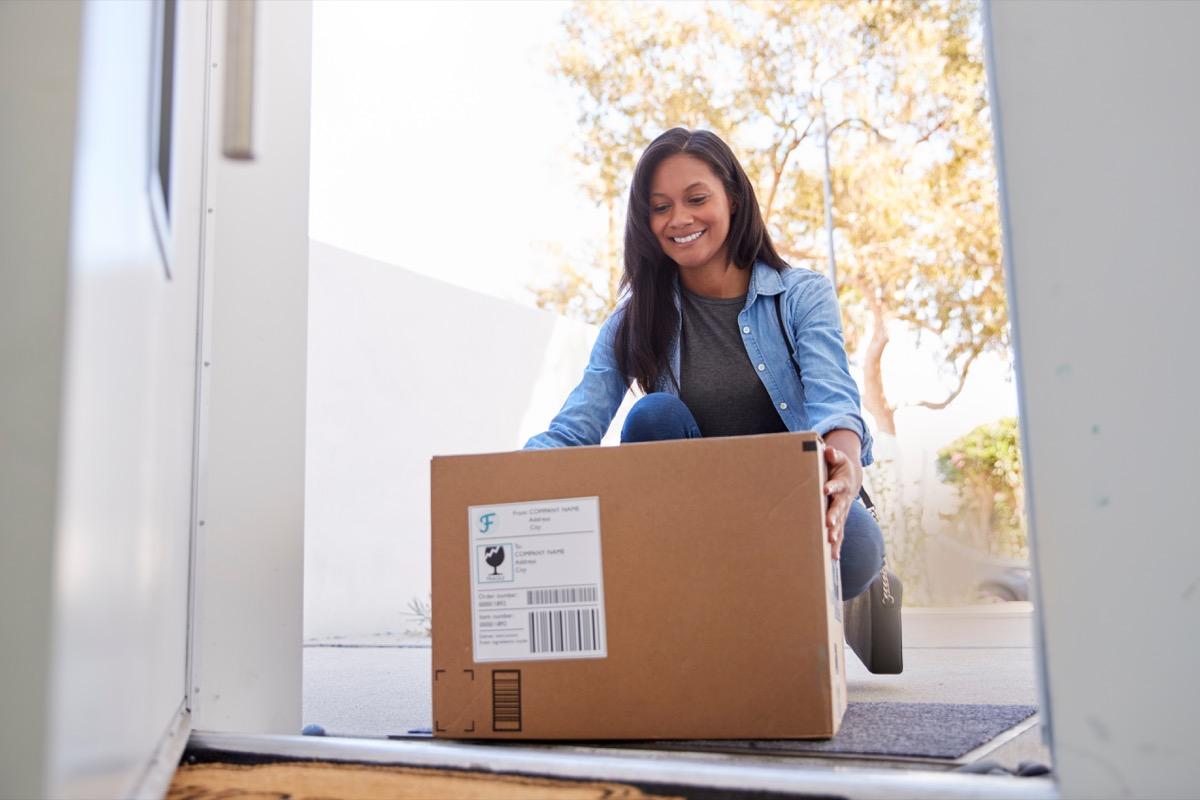 woman receiving packages at her front door, walmart employee secrets