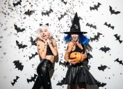 woman dressed in witch costumes for halloween