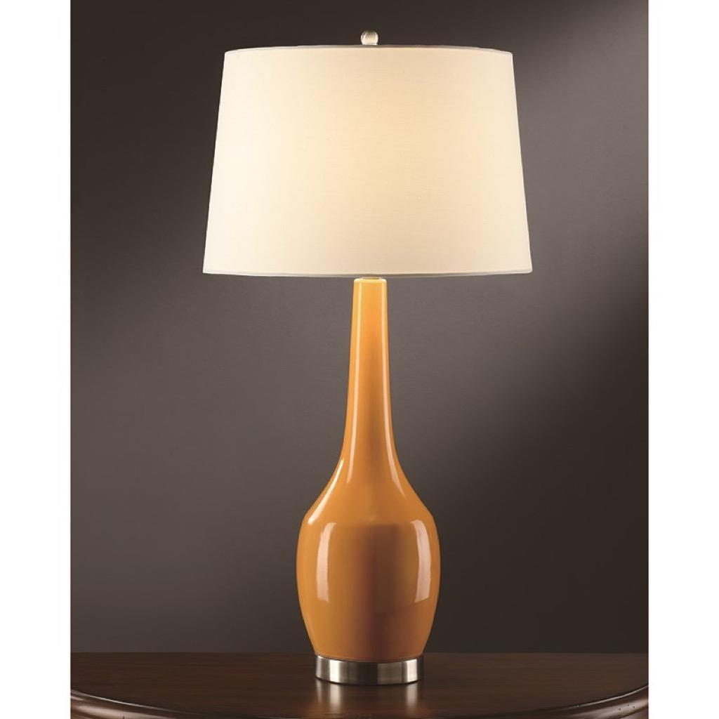 A sleek yellow lamp