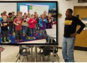 """Kindergarteners at Hickerson Elementary School learned how to sign the """"Happy Birthday"""" song for their deaf custodian, James Anthony."""