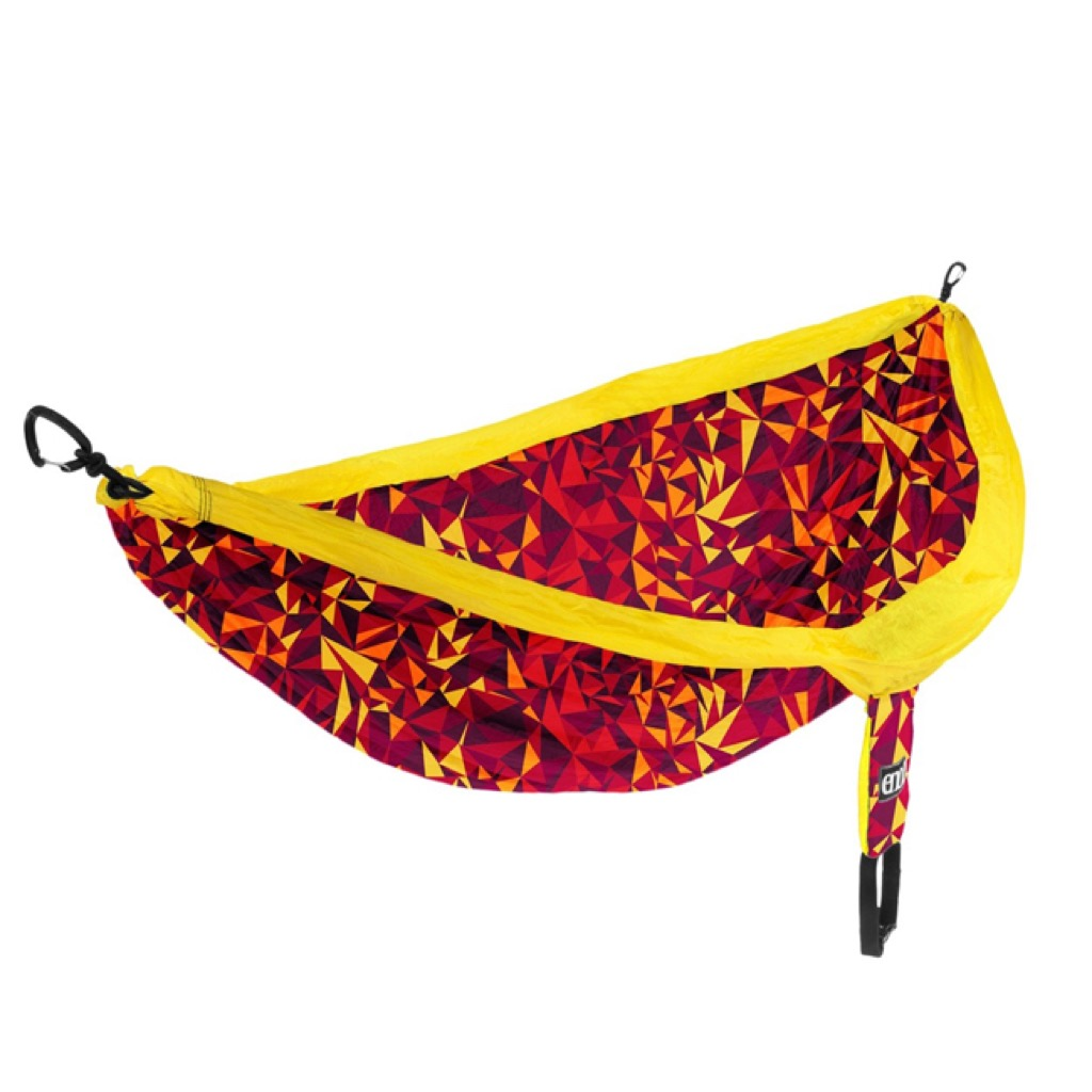 A red and yellow printed hammock