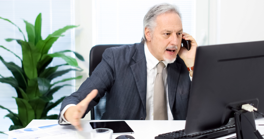Angry Man Talking to Customer Service