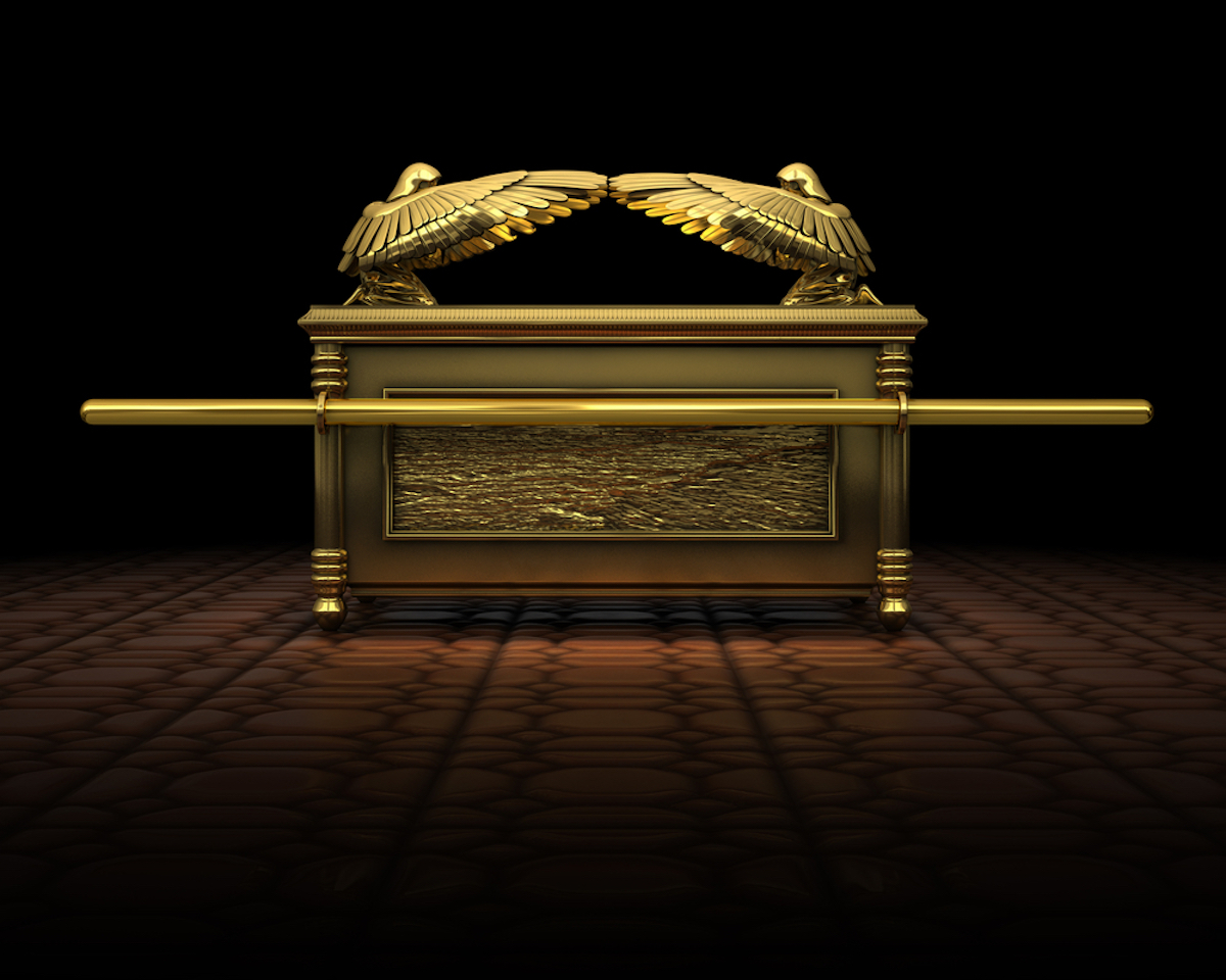 a 3d Rendering of the ark of the covenant as described in the bible.