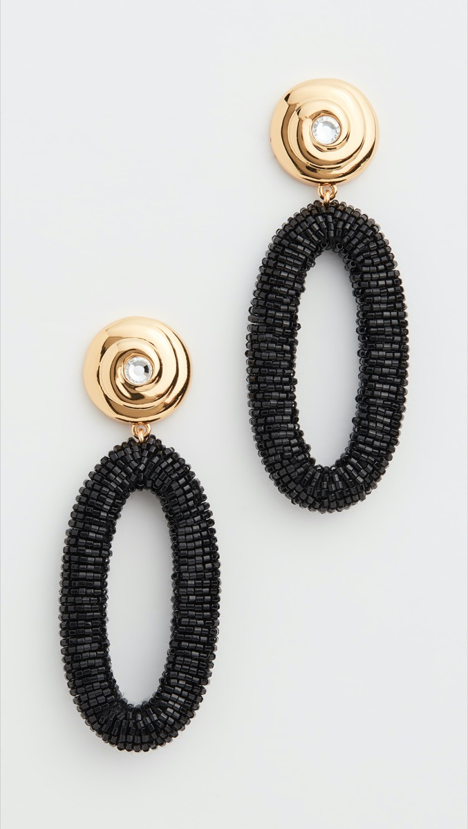 black and gold beaded drop earrings