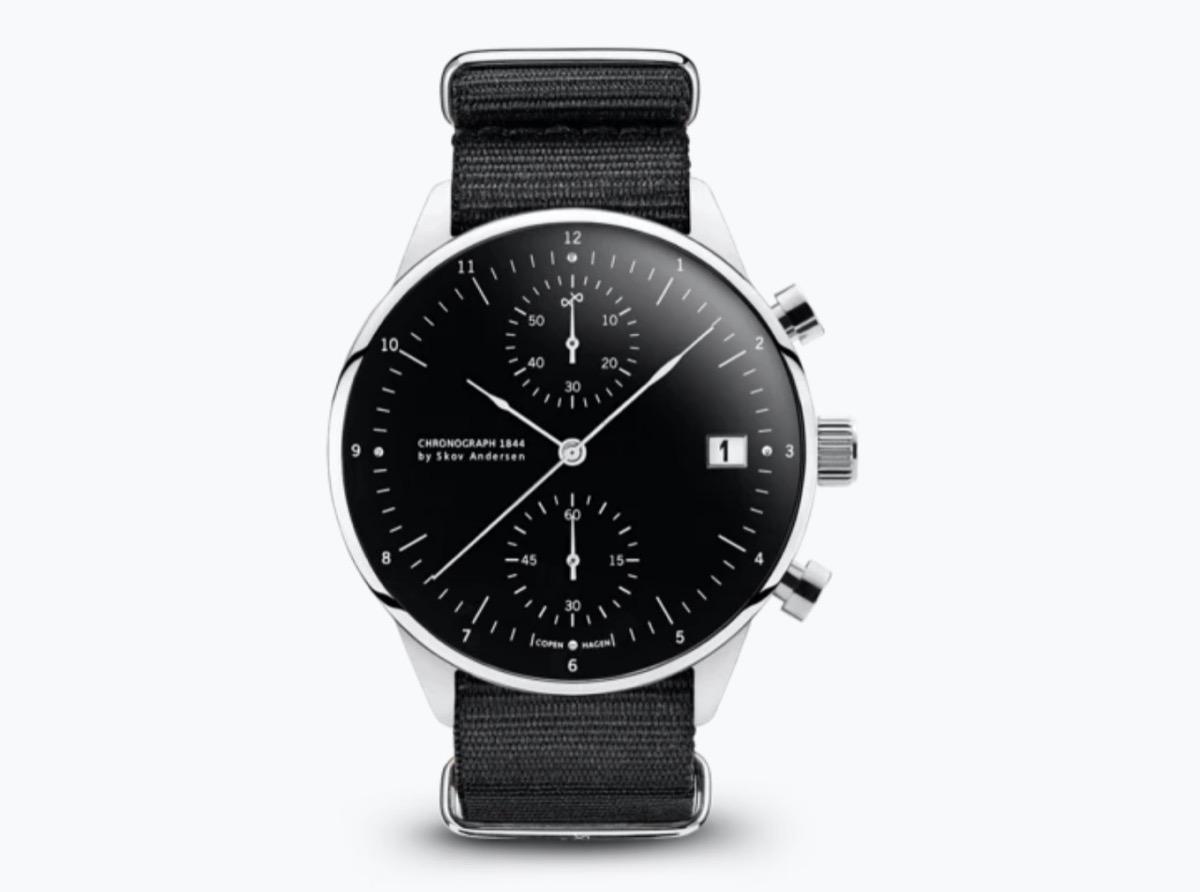 black leather chronograph watch