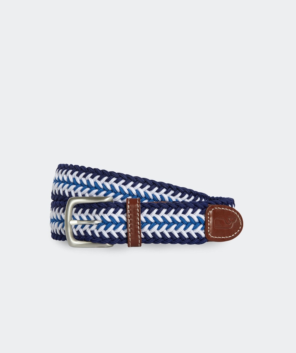blue and white braided belt