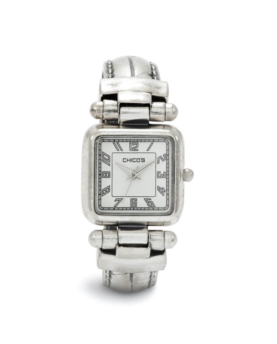 silver bracelet watch