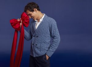 brooks brothers light blue double breasted cable knit cardigan is one of the best last-minute gifts for dad