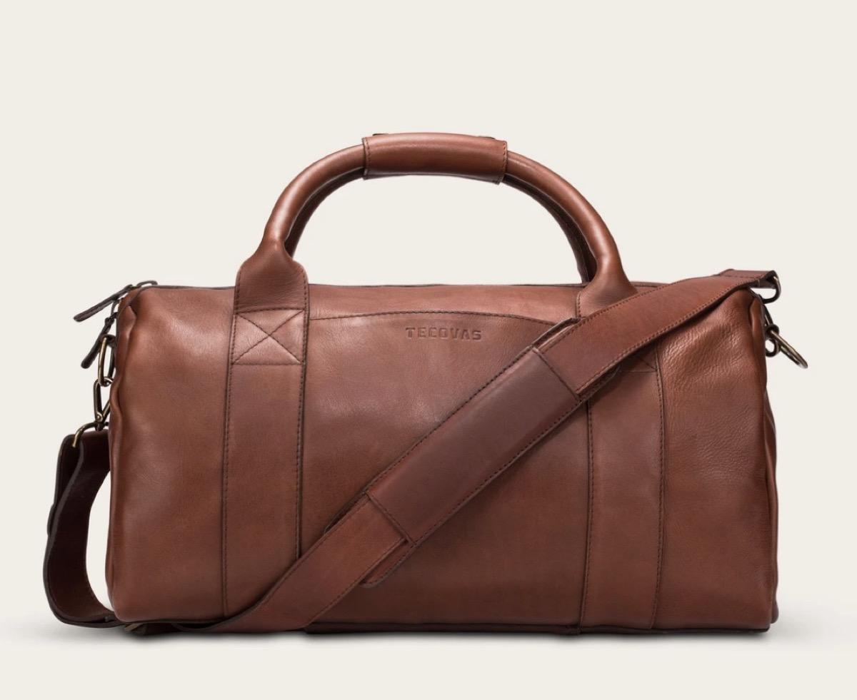 brown leather duffel