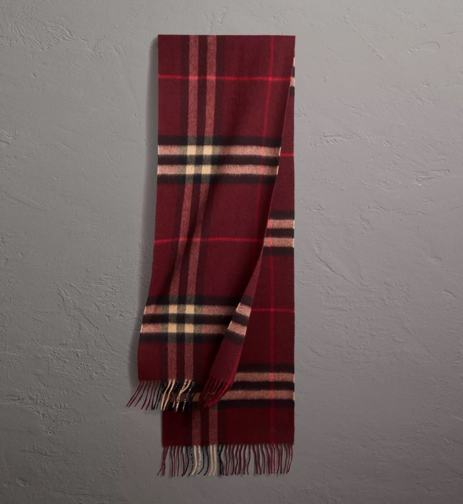 burberry check scarf in burgundy