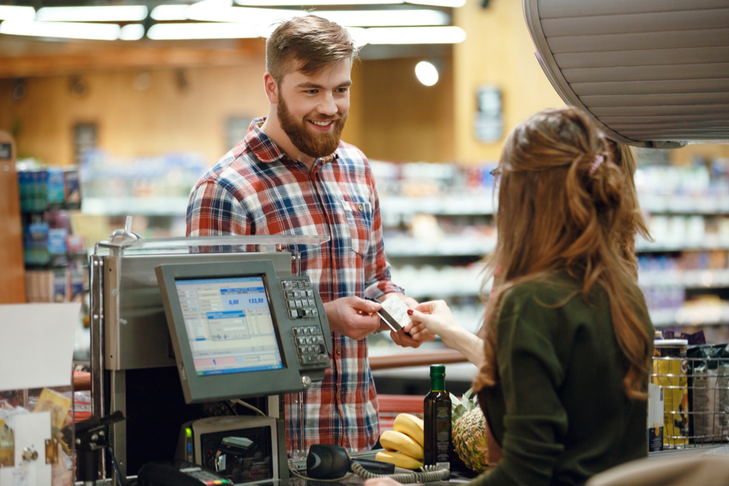 Man Talking to a Cashier {Salespeople}