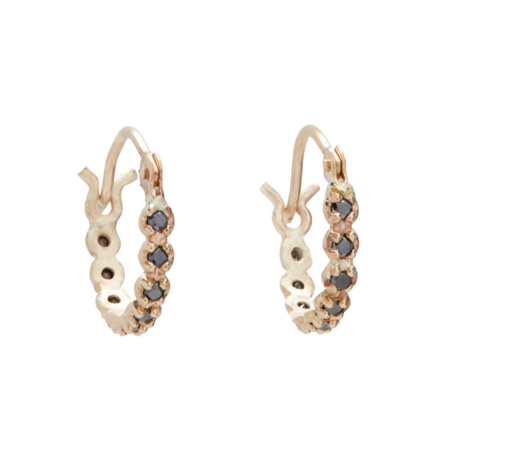 black diamond and yellow gold hoops