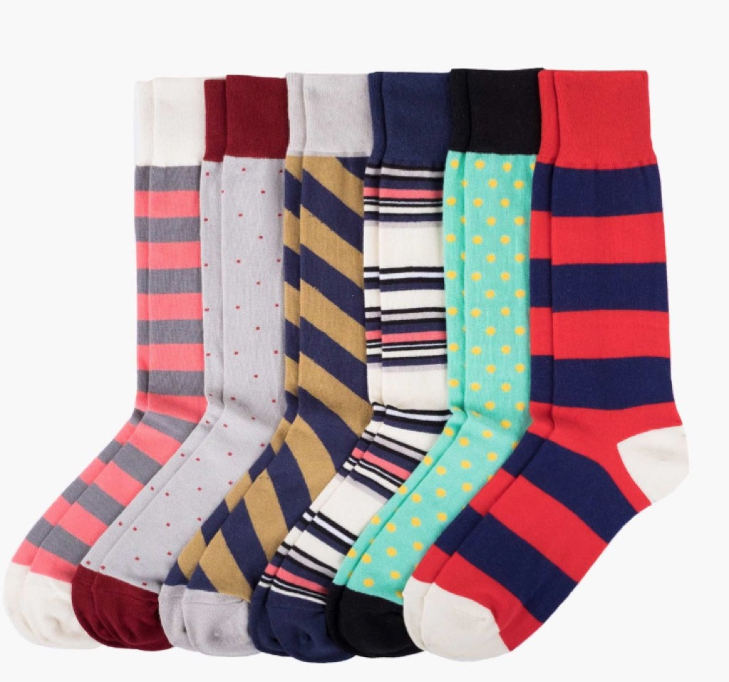 striped and brightly patterned socks