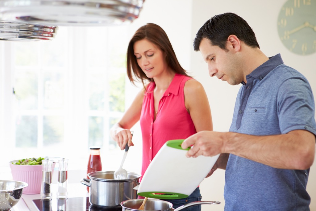Couple Cooking in the Kitchen {Weight Loss Secrets}