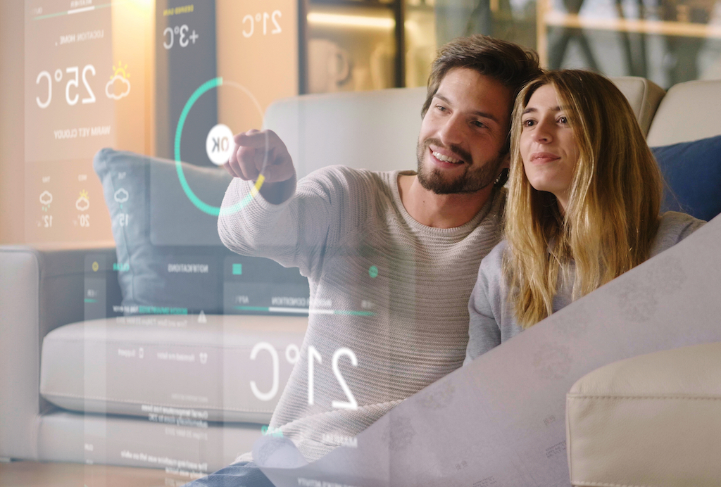 couple on a sofa in a smart home