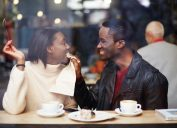 couple on a romantic date in a coffee shop