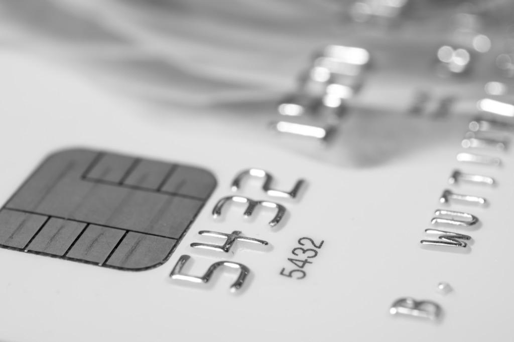 close up shot of a silver credit card