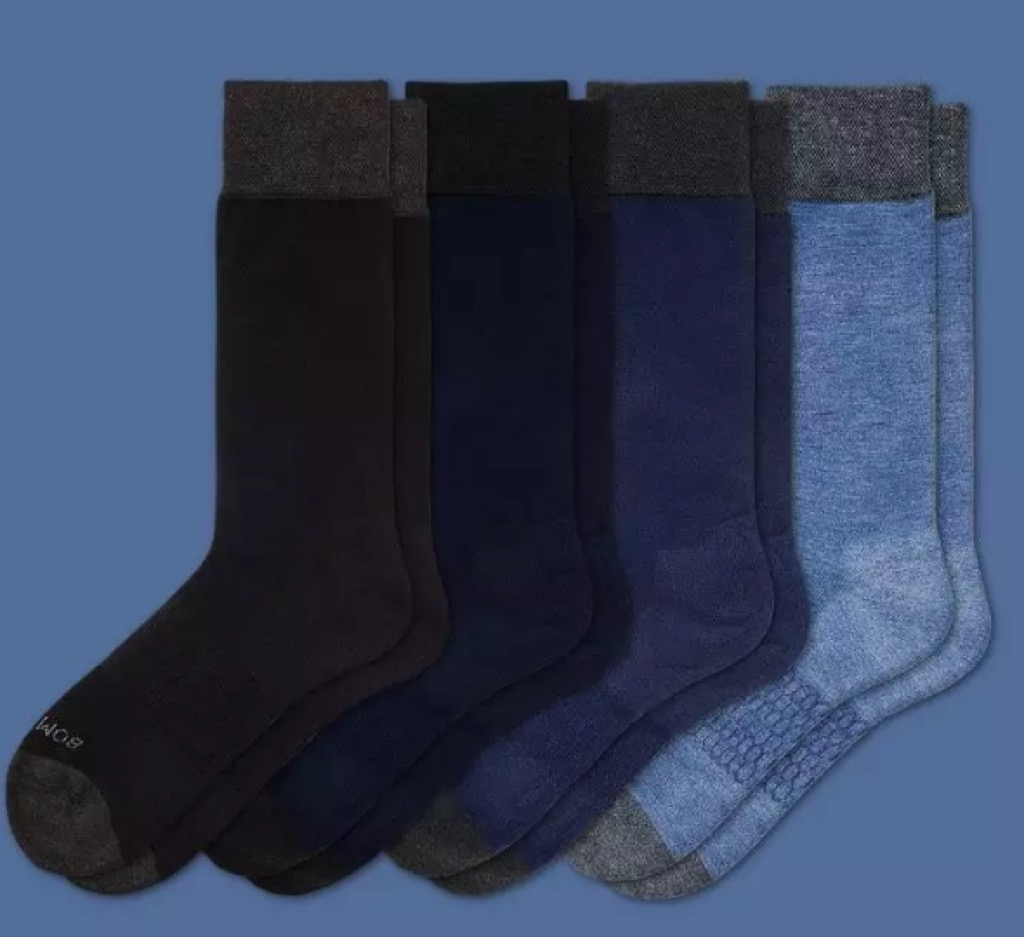 four pairs of blue socks