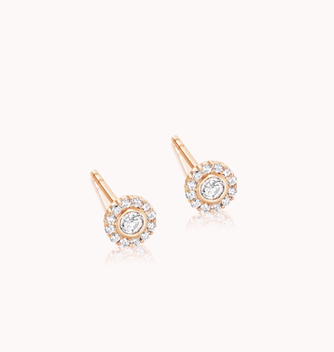 diamond halo studs