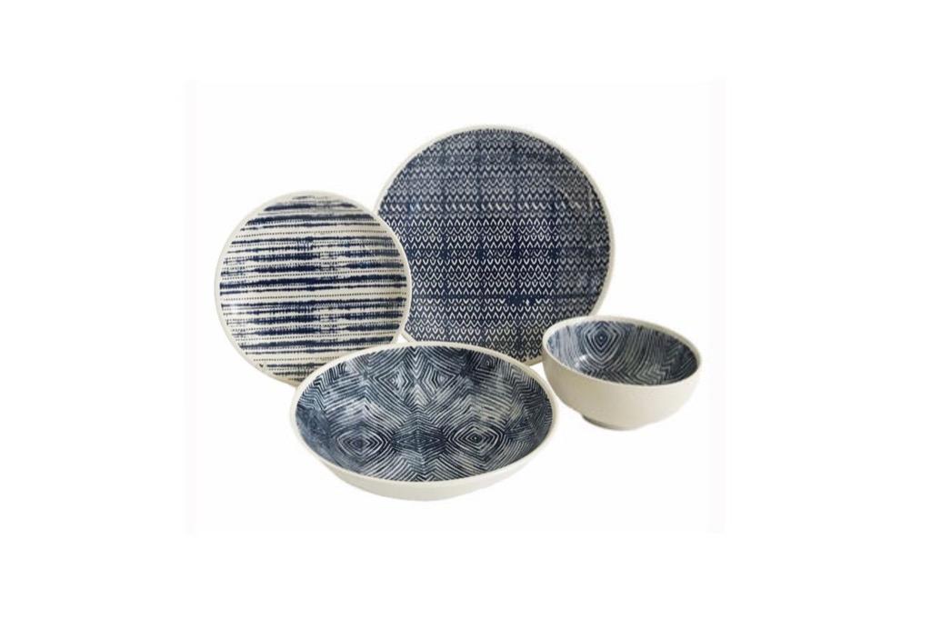 A dining set with dark blue designs