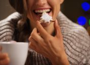 woman eating cookie, relationship white lies