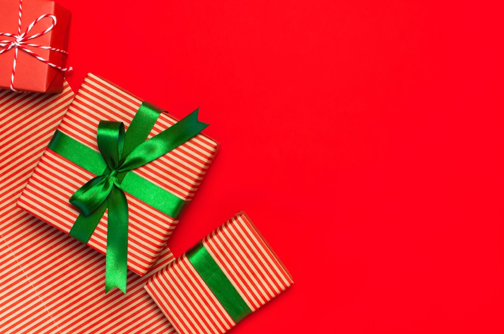 gift boxes against a red background
