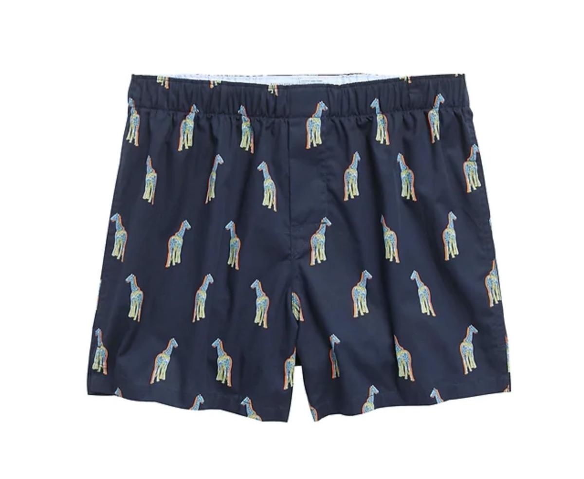 blue giraffe pattern boxers