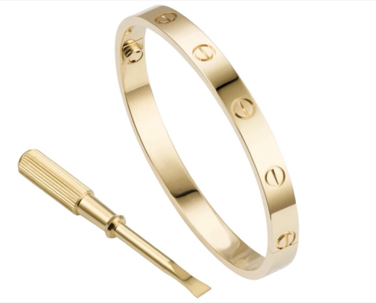 gold bangle with screw driver