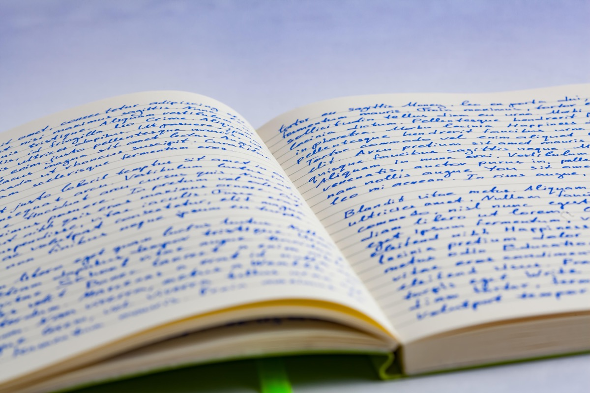 Handwritten notes in a notebook showing great handwriting