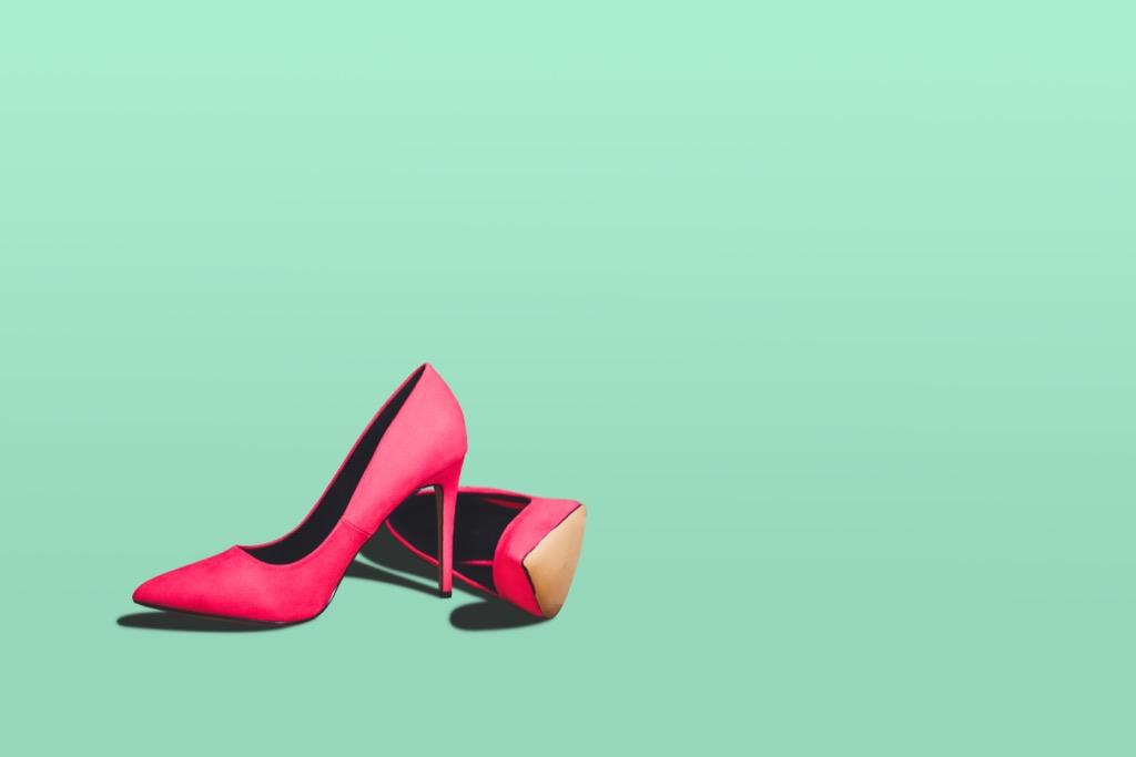 pink pair of high heels