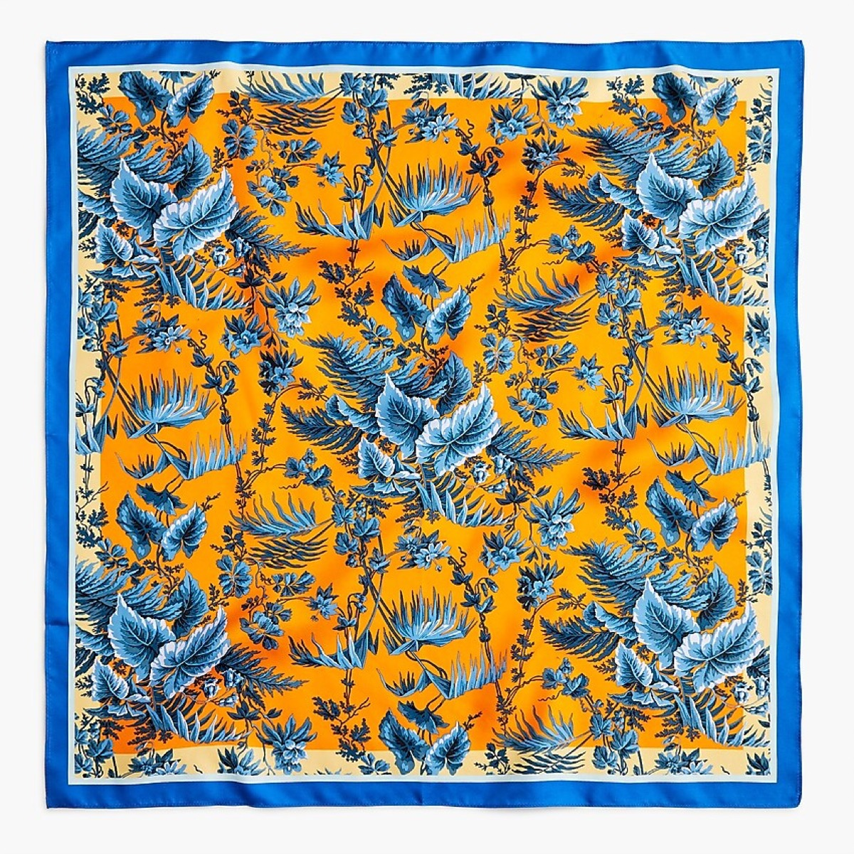 blue and yellow silk scarf
