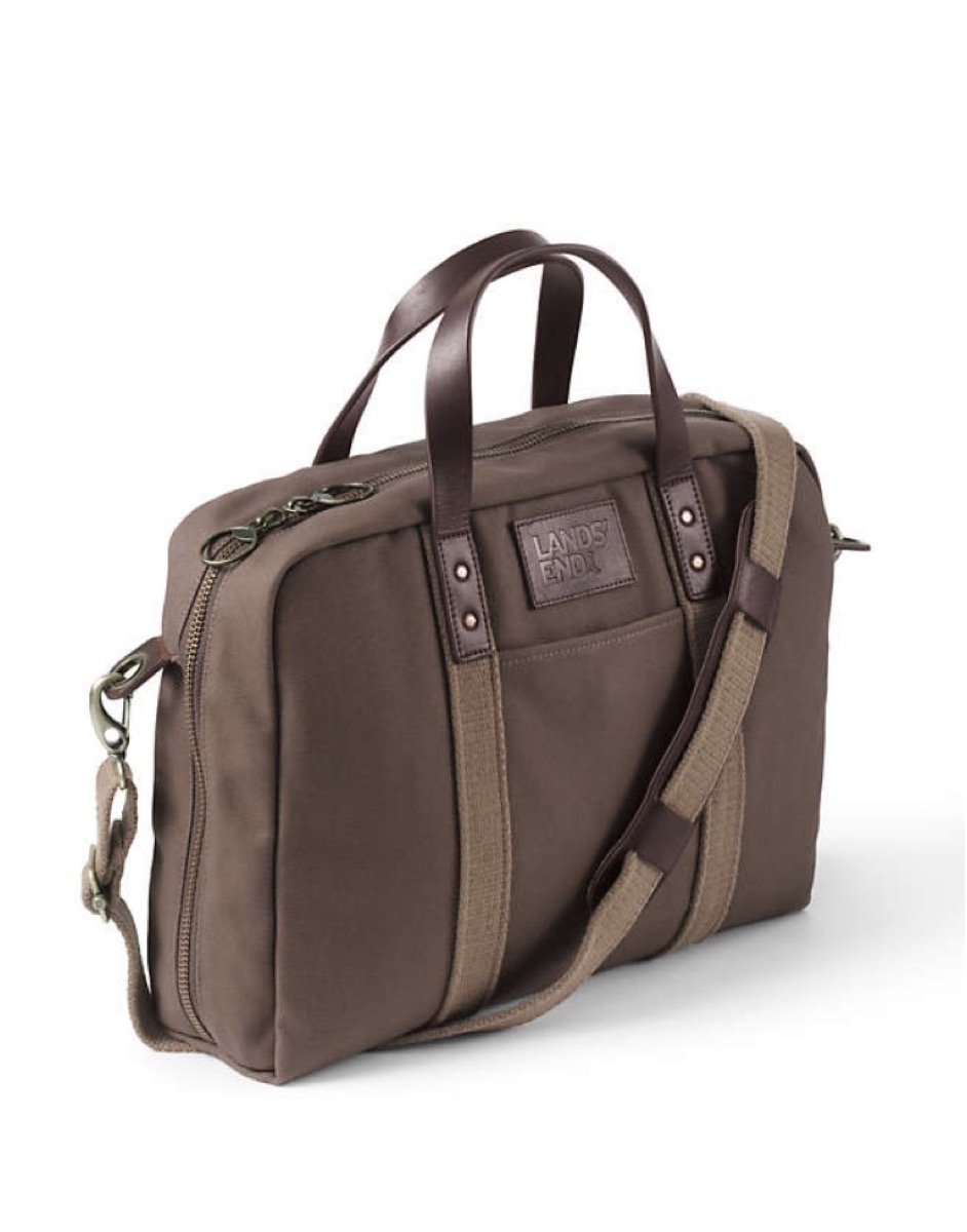 brown canvas laptop bag with leather handles