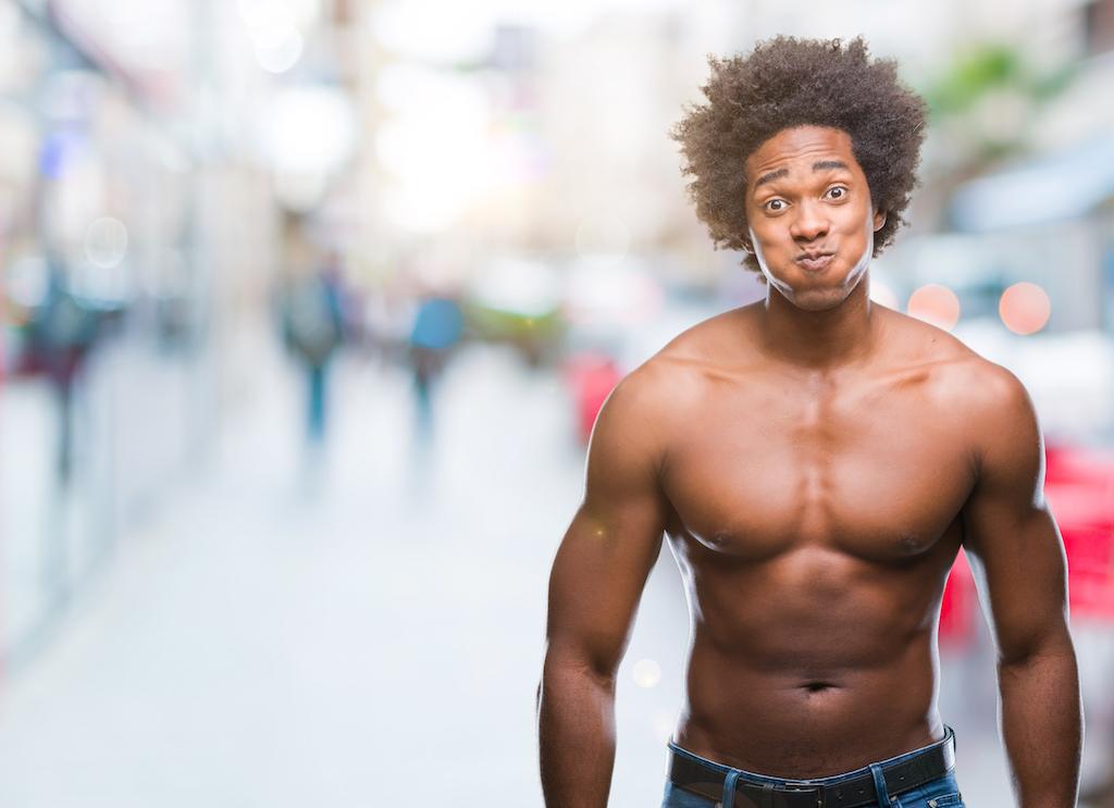 Shirtless Man Puffing Chest {Body Language}