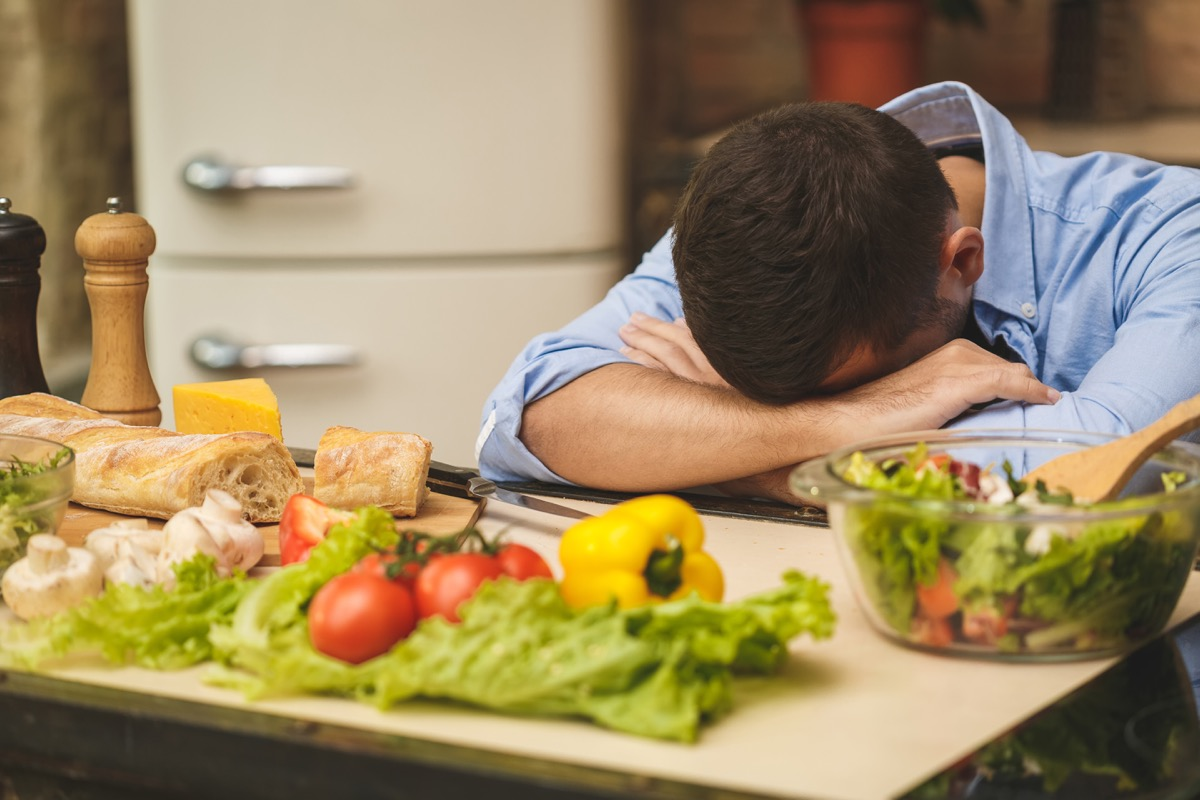 Man looking sad on a healthy diet for weight loss