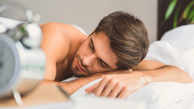 man sleeping face down