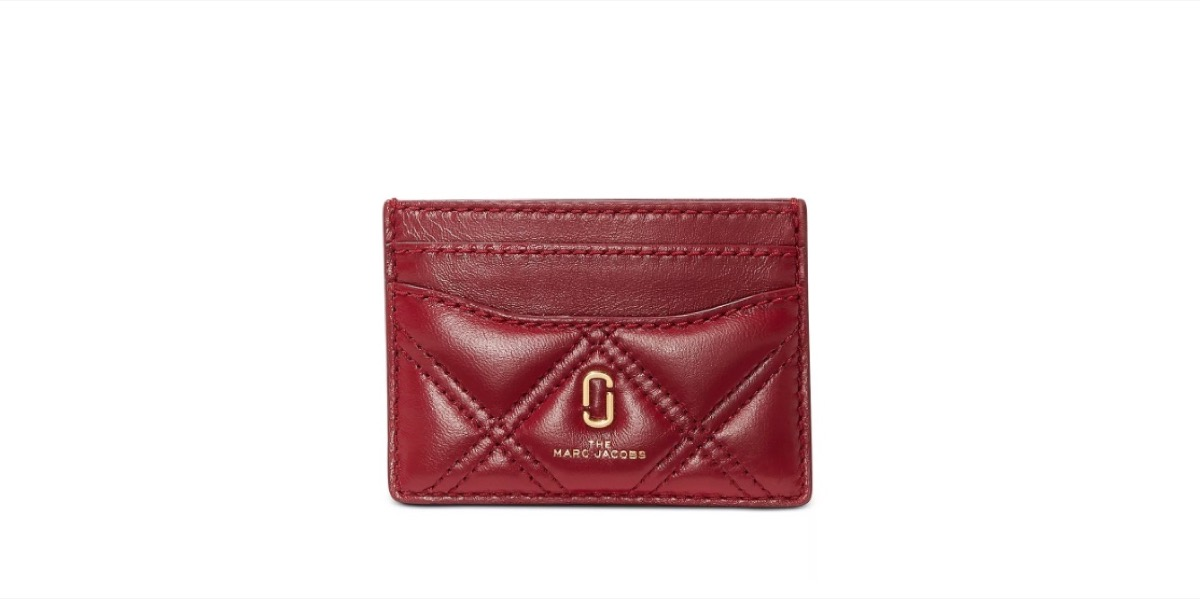 marc jacobs red leather card case