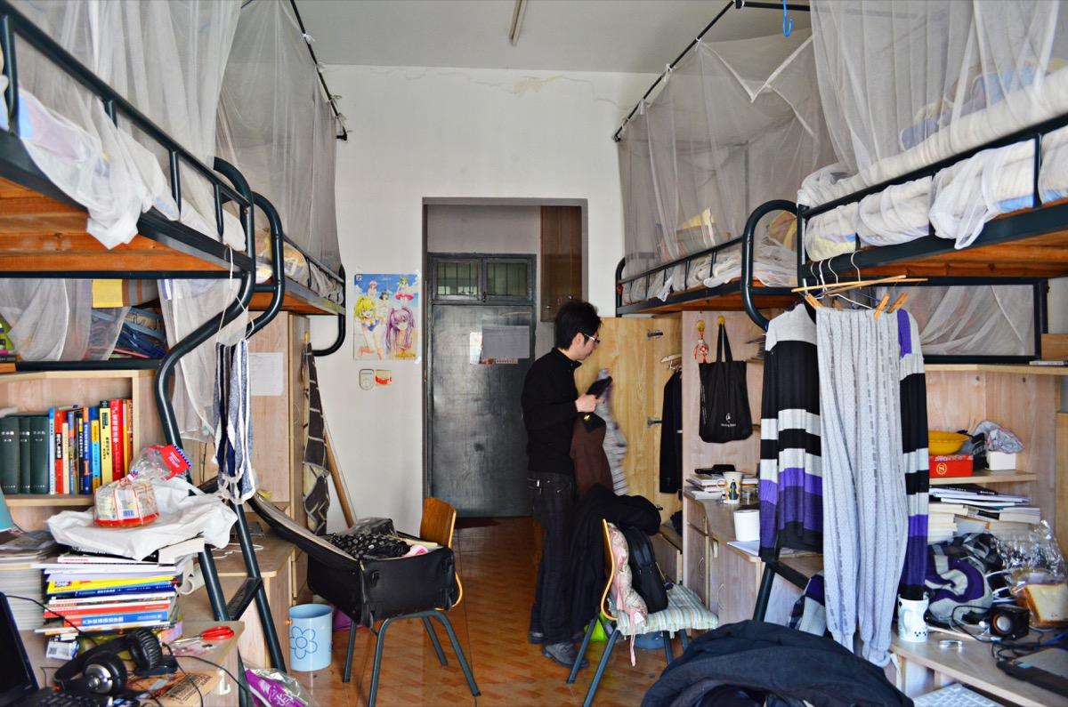 Messy dorm room