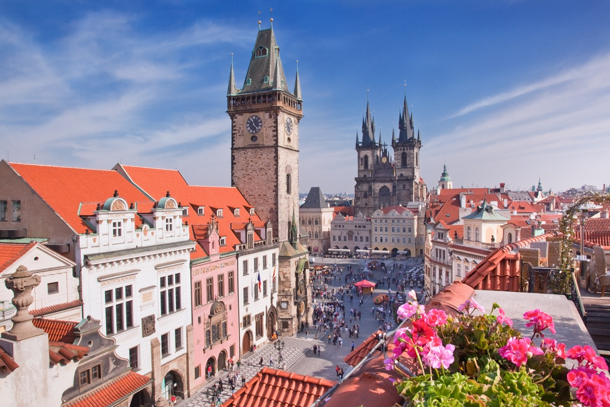 rooftop view of the prague cathedral and bell tower