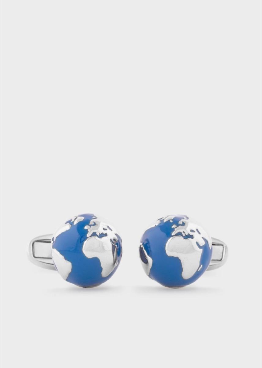 blue and silver globe cufflinks