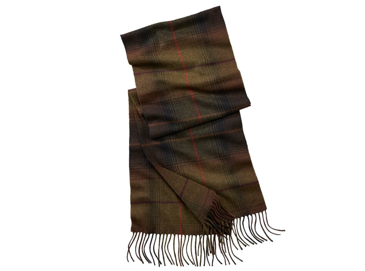 brown plaid scarf with fringe