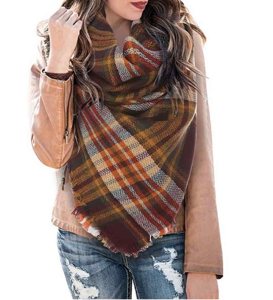 woman in brown plaid scarf