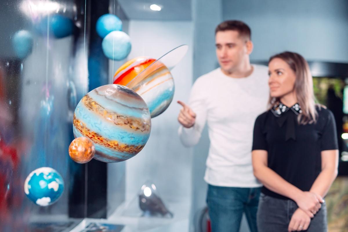 Couple at planeterium exhibit