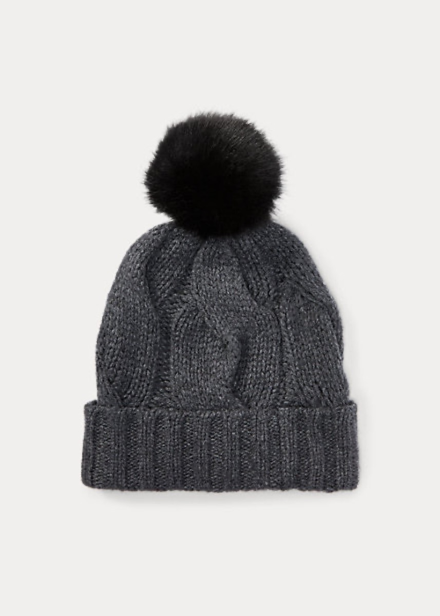 gray cable knit hat with pom pom