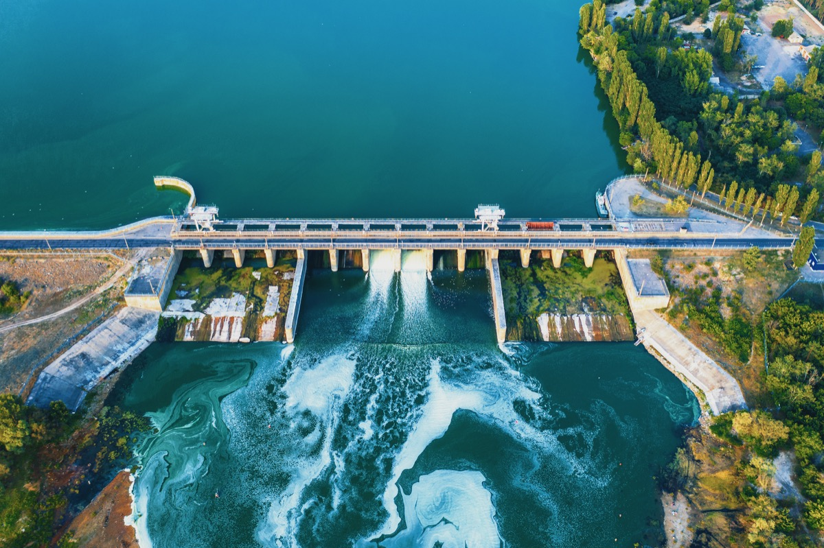 Aerial view of a reservoir and dam