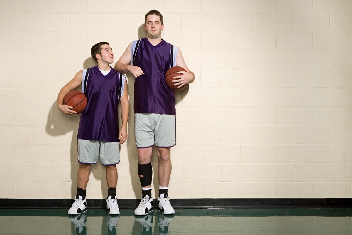 Short and tall basketball players